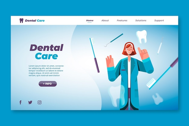 Flat dental care landing page template