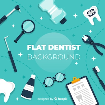 Flat dental tools background
