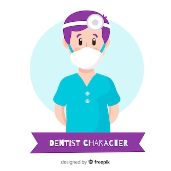 Flat dentist character background