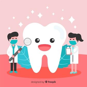 Плоский стоматолог, заботясь о зубном фоне