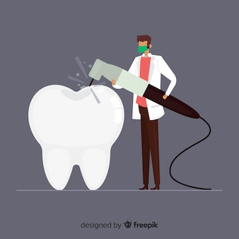 Flat dentist taking care of a tooth background