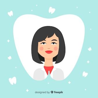 Flat dentist woman background