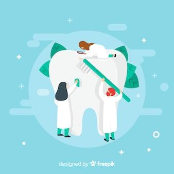 치아 배경을 돌보는 플랫 치과 의사