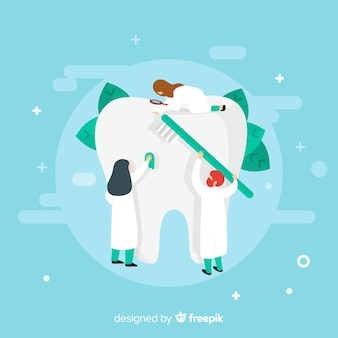 Flat dentists taking care of a tooth background
