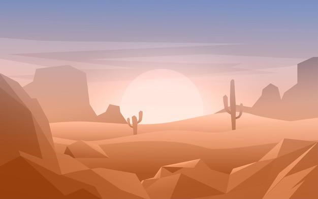 선인장과 평평한 사막 풍경