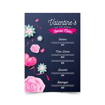 Flat desig valentines day menu