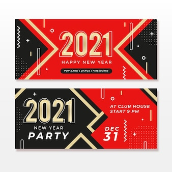 Flat design 2021 party banners template