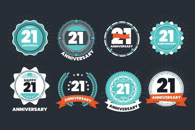 Flat design 21 anniversary badges collection