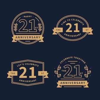 Collezione di distintivi di design piatto 21 anniversario
