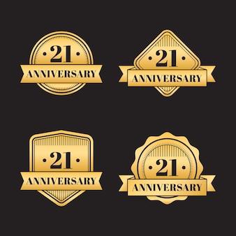 Flat design 21 anniversary golden badges collection