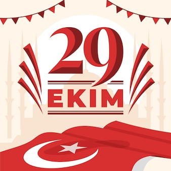 Flat design 29 ekim with flag