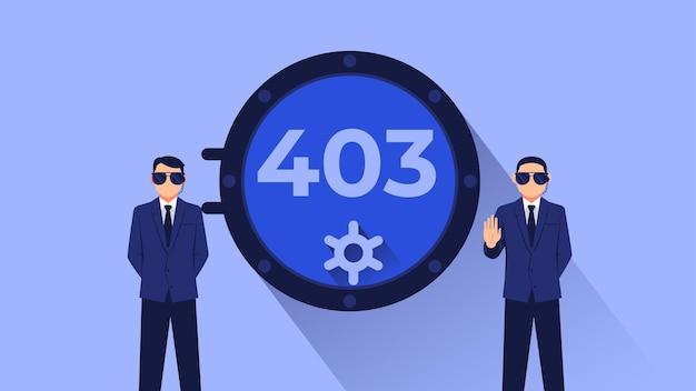 Плоский дизайн 403 дверь безопасности человек охраняет хранилище бесплатные векторы