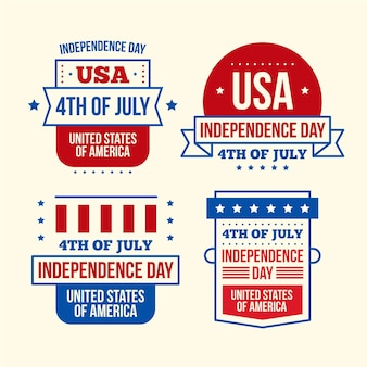 Flat design 4th of july badges