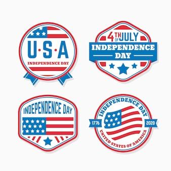Flat design 4th of july badges