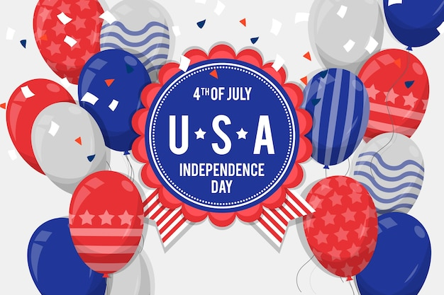 Flat design 4th of july balloon background