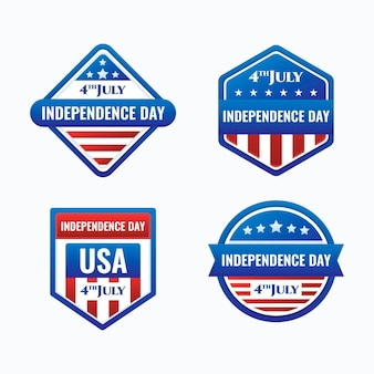 Flat design 4th of july - independence day badges
