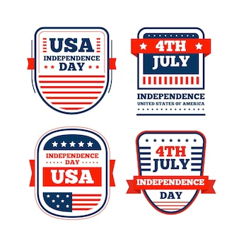 Flat design 4th of july labels collection