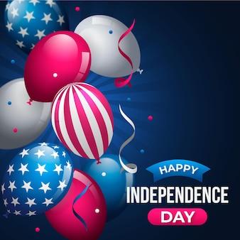 7月4日-独立記念日の風船背景のフラットなデザイン