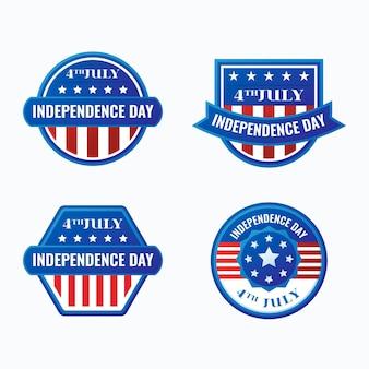 Плоский дизайн 4 июля - этикетки ко дню независимости