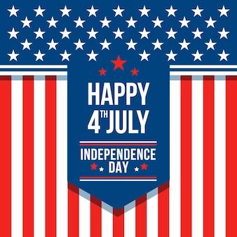 フラットデザイン7月4日-独立記念日の壁紙