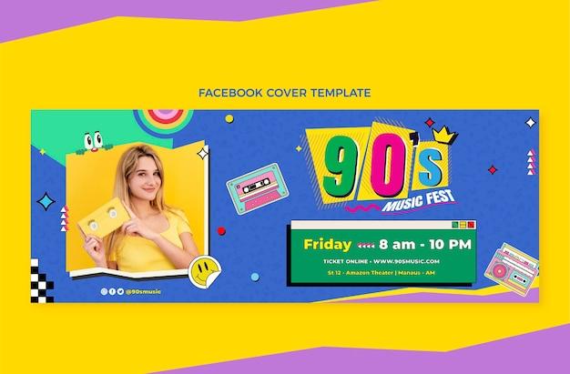 Flat design 90s music festival facebook cover
