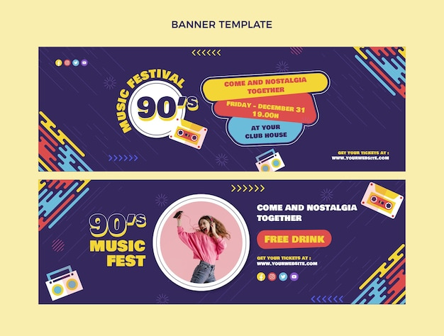 Плоский дизайн 90-х годов музыкальный фестиваль горизонтальные баннеры
