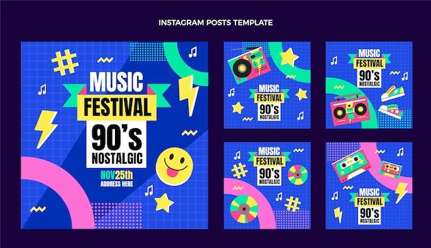 Flat design 90s music festival instagram posts