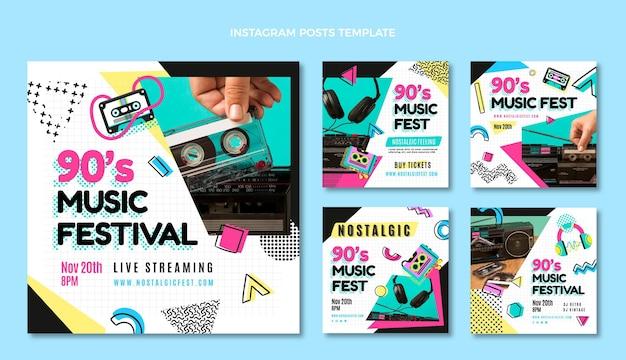 Посты в instagram с музыкальным фестивалем 90-х в плоском дизайне
