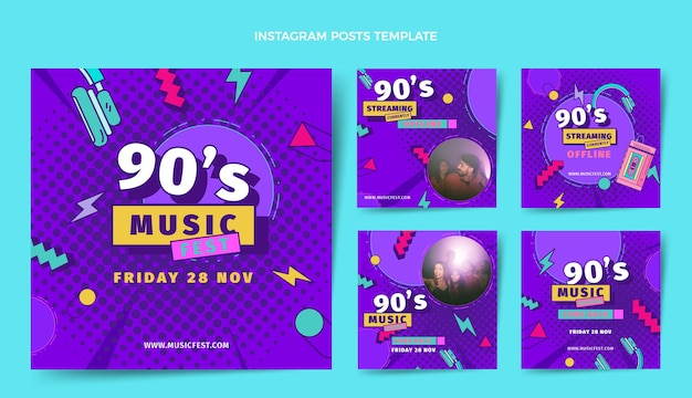 평면 디자인 90년대 음악 축제 인스타그램 게시물