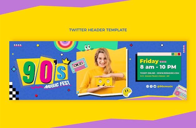 Flat design 90s music festival twitter header