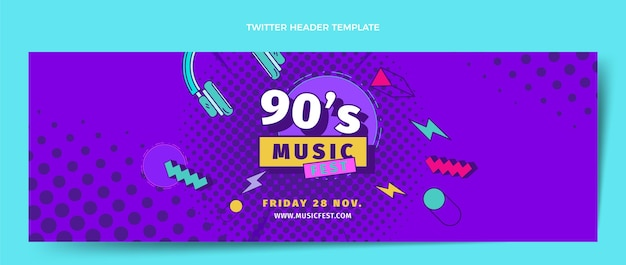 평면 디자인 90년대 음악 축제 트위터 헤더