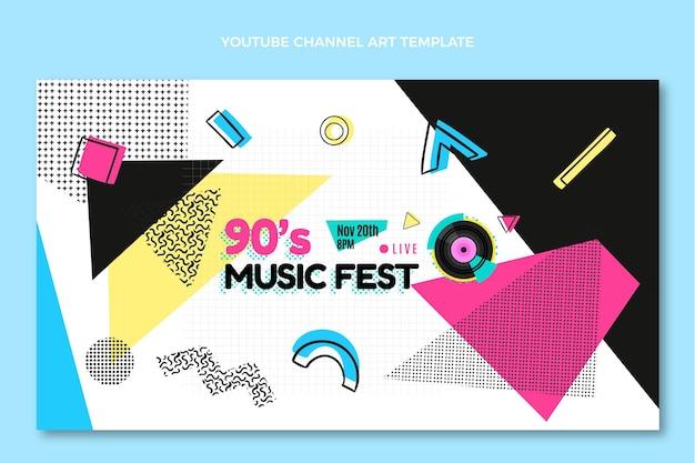 Flat design 90s music festival youtube channel