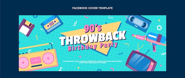 Flat design 90s nostalgic birthday facebook cover
