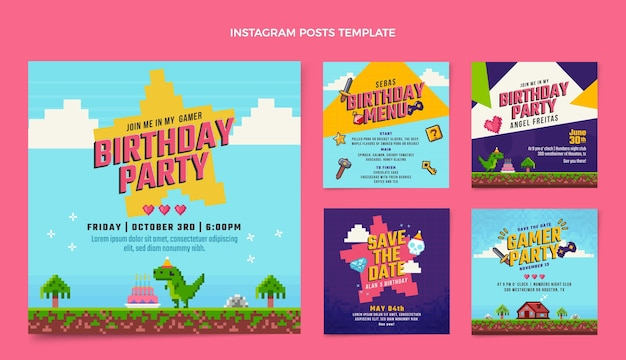 Плоский дизайн 90-х годов ностальгические посты на день рождения в instagram