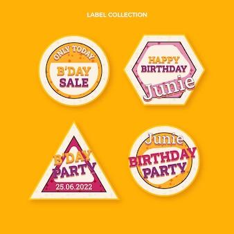 평면 디자인 90년대 향수를 불러일으키는 생일 레이블 및 배지