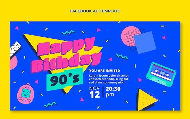 Modello di compleanno nostalgico anni '90 dal design piatto