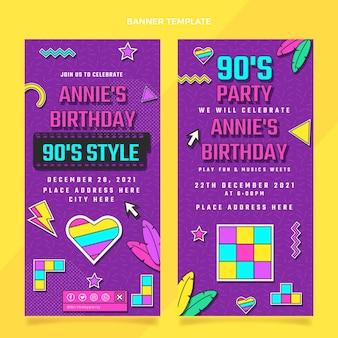 Banner verticali di compleanno nostalgico anni '90 design piatto