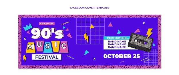 Flat design 90s nostalgic music festival facebook cover