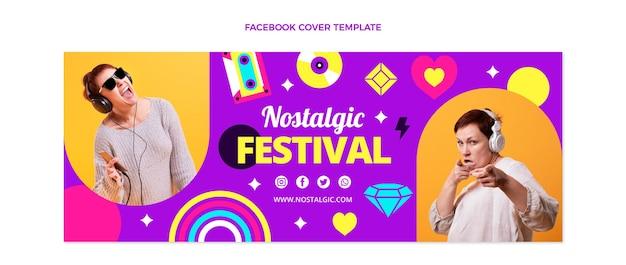 평면 디자인 90년대 향수를 불러일으키는 음악 축제 페이스북 커버