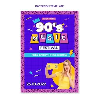 Flat design 90s nostalgic music festival invitation