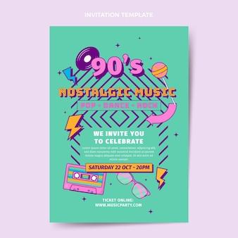 평면 디자인 90년대 향수를 불러일으키는 음악 축제 초대장