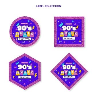 Flat design 90s nostalgic music festival labels