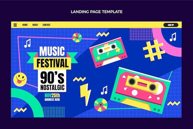 Flat design 90s nostalgic music festival landing page