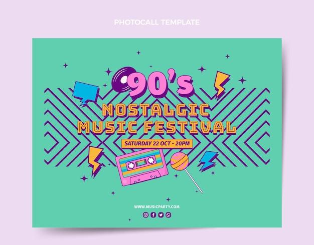 평면 디자인 90년대 향수를 불러일으키는 음악 축제 포토콜