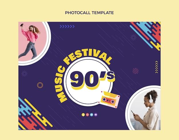 Фотоколл на фестивале ностальгической музыки 90-х годов в плоском дизайне