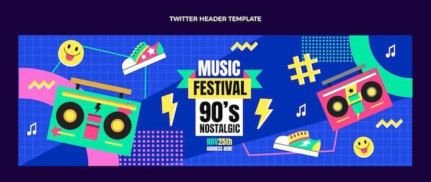 Flat design 90s nostalgic music festival twitter header