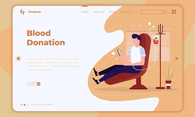 Flat design about blood donation on landing page
