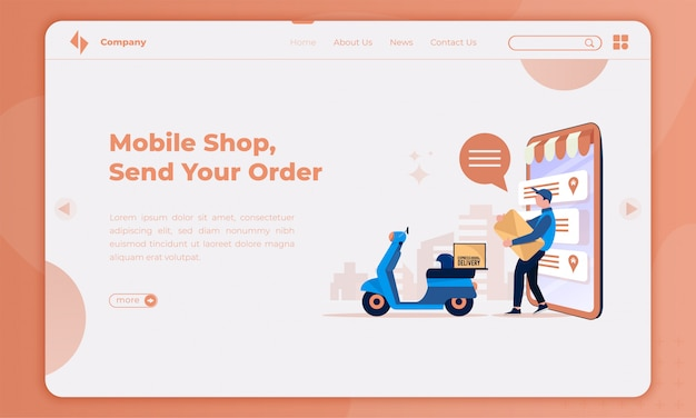 Flat design about the courier will ship your order on landing page