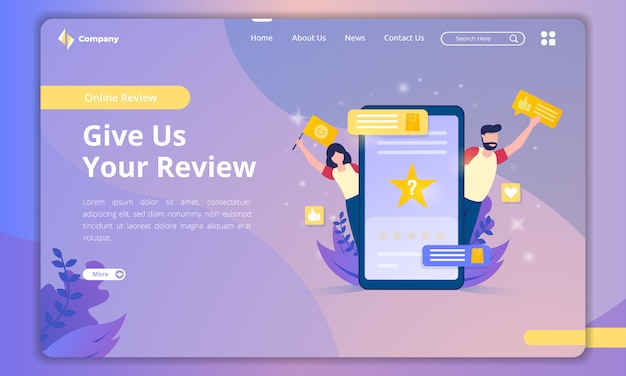Flat design about giving us a review on landing page template