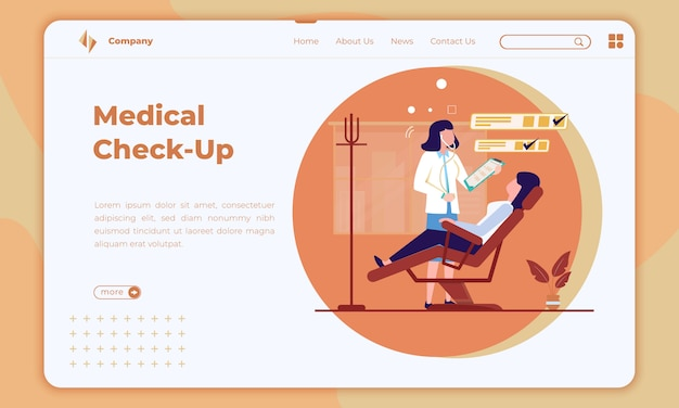 Flat design about medical check-up on landing page